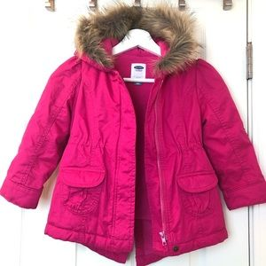 Old Navy Jackets & Coats - Toddler Girls Hooded Faux Fur Trim Jacket